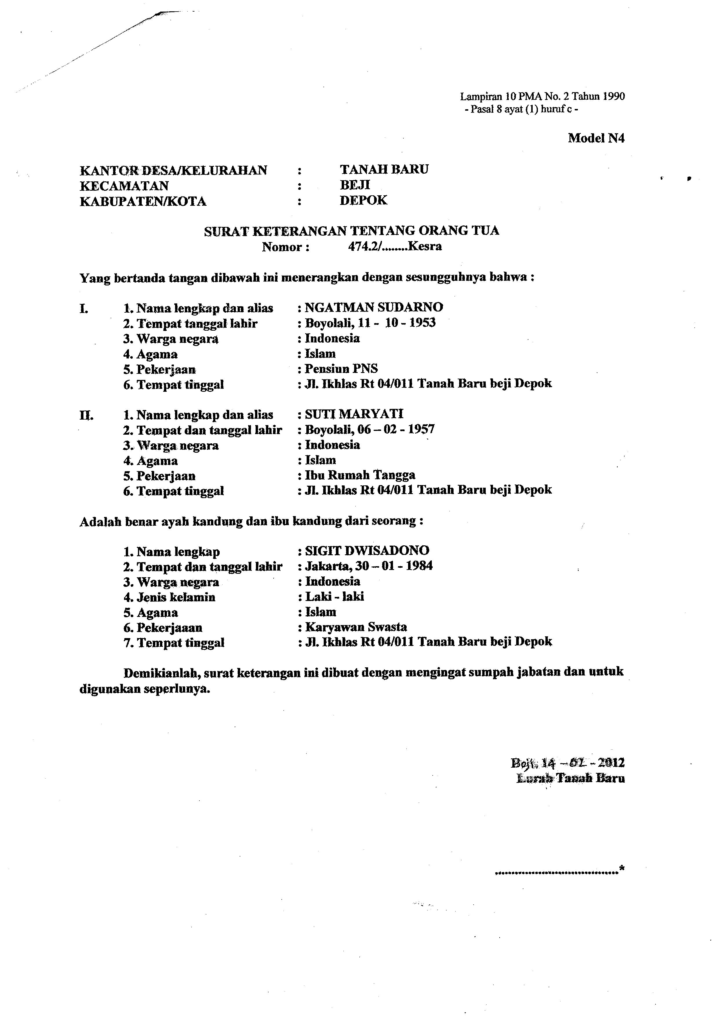 Pembuatan Surat Ijin Numpang Menikah Dwisadono Sigit