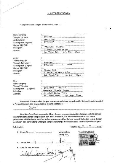 Contoh Surat Numpang Nikah Backup Gambar